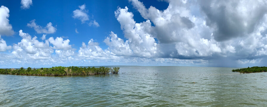 Blue sky and perfect fishing water off the coast of Louisiana panorama