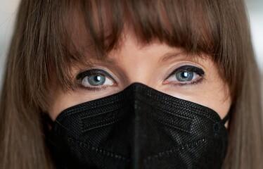 Coronavirus - Closeup portrait of beautiful young women in black face mask.