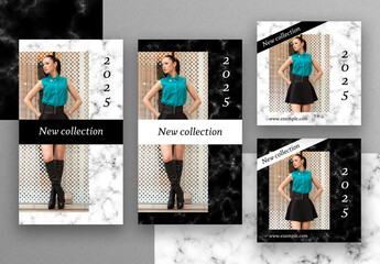Social Media Post Layouts with Black and White Marble Background