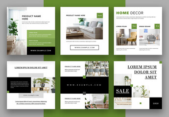 Social Media Post Layouts with Green and Black Accents