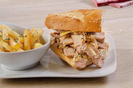 Roast Pork Sandwich Sliced tenderloin pork with artisan bun
