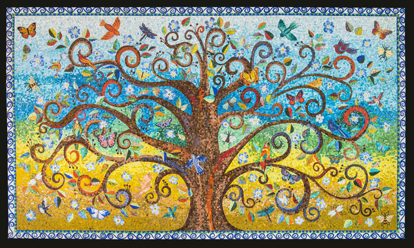 Small mosaic tiles pattern forming a Tree of Life background Mosaic artwork made by a mosaic artist