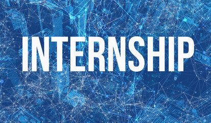 Internship theme with abstract network patterns and skyscrapers