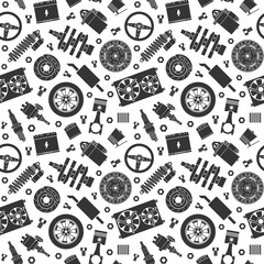 Wall Murals Pattern Auto spare parts seamless pattern. Car repair silhouette icon texture and background