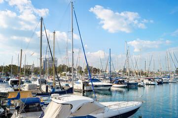 Marina, yachts, motorboats, citycsape, Cyprus