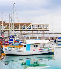 Limassol harbor restaurants, fishing boats