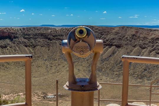 Meteorite crater near Winslow, Arizona with observation telescope