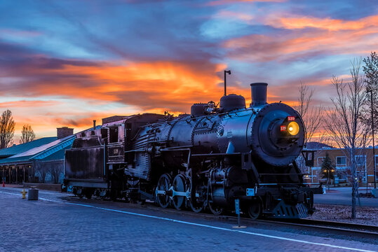 The train to the Grand Canyon waiting at Williams Station, Arizona at sunset