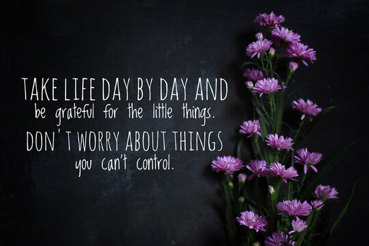 Inspirational quote - Take life day by day and be grateful for the little things. Do not worry about things you cannot control. Motivational words on blackboard with flowers.