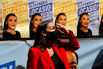 U.S. Rep. Alexandria Ocasio-Cortez (D-NY) makes campaign stop in Queens during Democratic congressional primary election in New York