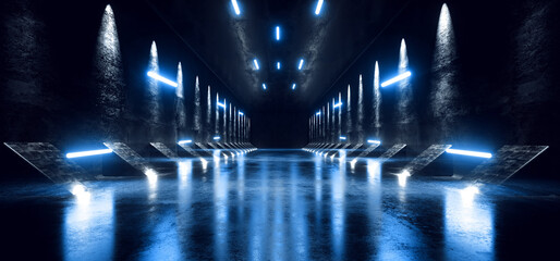 Concrete Hallway Warehouse Industrial Concrete Sci Fi Alien Spaceship Corridor Tunnel Underground Laser Glowing Blue Neon Led Lights Cyber Parking Showcase Background 3D Rendering