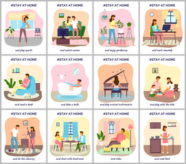 Coronavirus quarantine, stay at home. People sitting at their home, play with kids, relaxing on sofa work remotely reading books, wath movies. Family decrease infection risk for prevent virus covid-19