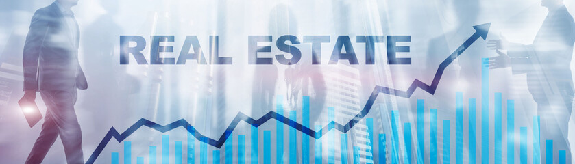 Real estate deal. Double exposure, business people cooperation concept.