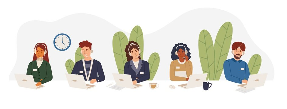 Multicultural tech support employees in call center working on hotline, answering calls wearing hands free headsets. African american girl, indian sikh, guy, woman help customers vector illustration.