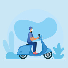 Man with medical mask on motorcycle vector design