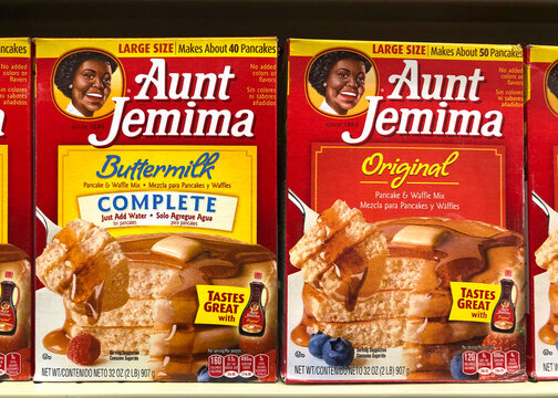 Alameda, CA - June 23, 2020: Aunt Jemima pancake mix, original and buttermilk. The pancake mix debuted in 1889, the first ready mix, and became one of the most recognized names in US history.