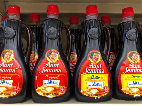 San Leandro, CA - June 23, 2020: Aunt Jemima pancake syrup, lite and butter lite. The pancake mix debuted in 1889, the first ready mix, and became one of the most recognized names in US history.