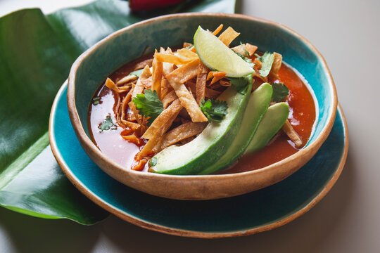 Aztec soup. Close up of mexican fried tortilla soup Sopa Azteca