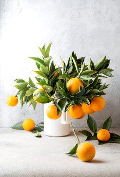 Orange tree branches bouquet with orange fruits in white jar