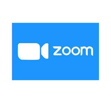 Zoom logo video conference application. Blue camera icon. Zoom app logo. Live media streaming application . Kharkiv, Ukraine - June 15, 2020