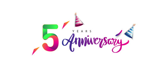 5th anniversary celebration logotype and anniversary calligraphy text colorful design, celebration birthday design on white background. Fotomurales