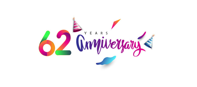 62nd anniversary celebration logotype and anniversary calligraphy text colorful design, celebration birthday design on white background.
