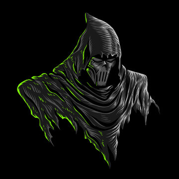 Vector illustration of Dark Grim Reaper with Mask, Dark Hood on the Black background. For mascot logo design in modern illustration. Separate layer and editable. Print on t-shirt (COLOR VERSION)