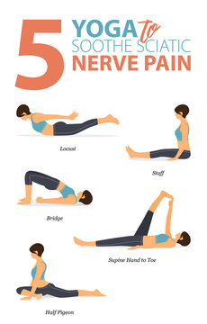 5 Yoga poses for workout in soothe sciatic pain concept. Woman exercising for body stretching. Yoga posture or asana for fitness infographic. Flat cartoon vector.