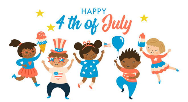Cute children characters celebrating 4th of July, USA Independence day. Childish print for card, stickers and party invitations. Vector illustration