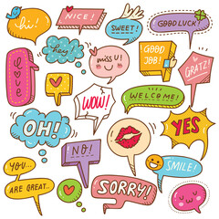 Cute speech bubble doodle set