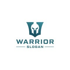 Letter W combine with knight warrior logo design.
