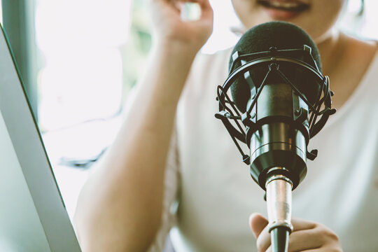 Condenser microphone, People working at home for internet live streaming radio broadcasting concept.