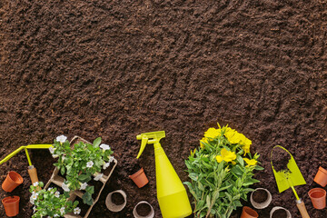 Tuinposter Tuin Supplies for gardening with plants on soil background