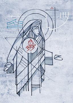Virgin Mary Immaculate Heart illustratioon