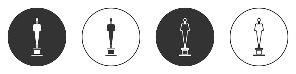 Black Movie trophy icon isolated on white background. Academy award icon. Films and cinema symbol. Circle button. Vector Illustration.