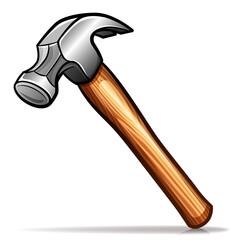 Vector hammer cartoon icon isolated