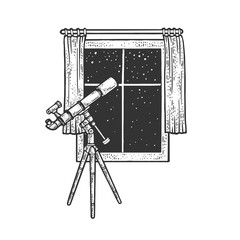 Wall Murals Equestrian telescope and open window sketch raster