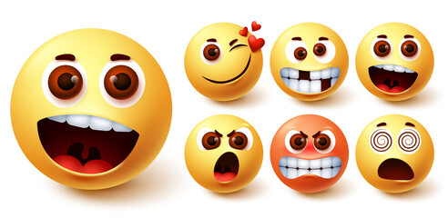 Smiley emoticon vector set. Smileys emoji faces in different facial expressions and feelings like surprise, in love, happy, mad, angry and dizzy for social media design element. Vector illustration
