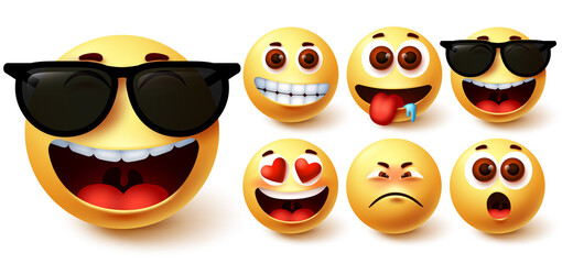 Emoji smiley vector set. Cute yellow smileys face with different feelings and facial expressions like happy in sunglasses, hungry, surprise, in love and sad for emoticon avatar collection. Vector