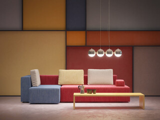 modern interior of room in pop-art style, 3d rendering