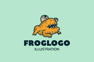 Frog. Logotype. Cartoon vector illustration