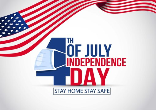 covid-19 coronavirus fourth of july independence day of the usa concept. vector illustration