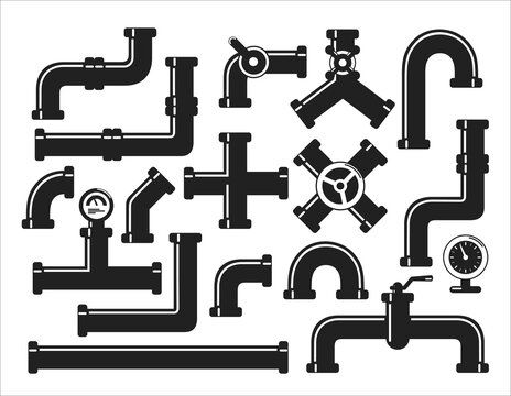 Vector icons set of details ware pipes system in flat style. Silhouette collection of water tube, plastic pipeline, filtres, gas valve, fittings, plumbing, faucet, sewage. Construction and industrial