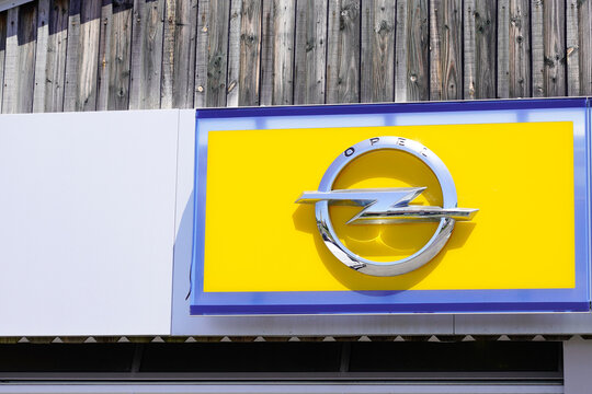 opel car yellow logo sign for German automobile manufacturer