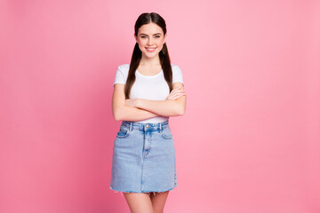 Portrait of her she nice-looking attractive pretty lovely content cheerful cheery girl folded arms...