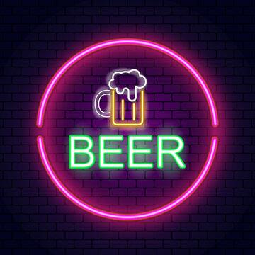 Beer neon sign, bright signboard, light banner. Beer logo, emblem
