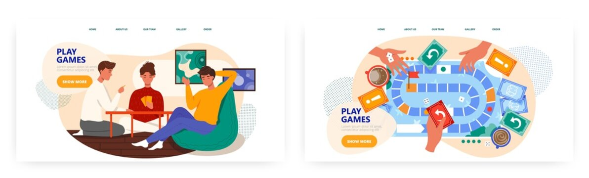 Friends play board games at home. Boardgame table top view with hands and cards. Stay home concept illustration. Vector web site design template. Landing page website illustration