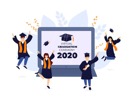 Virtual online graduation ceremony on a laptop monitor during coronavirus quarantine. Tiny graduates in gowns and mortarboards celebrate completion of studies. Class of 2020