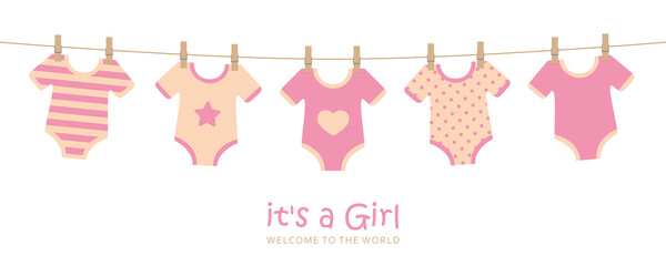 its a girl cute welcome greeting card for childbirth with hanging baby bodysuits vector illustration EPS10