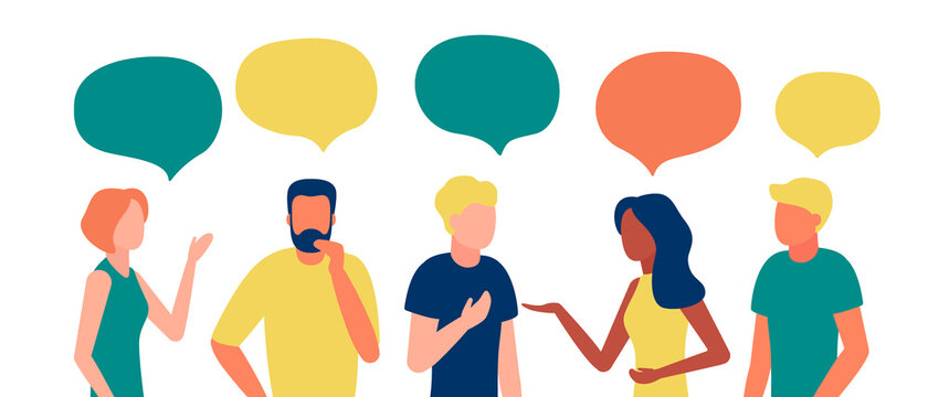 Group people african, american, caucasian communication via Internet, social networking, chat, video, news, messages. Team man and woman talk, discussion together. Vector illustration